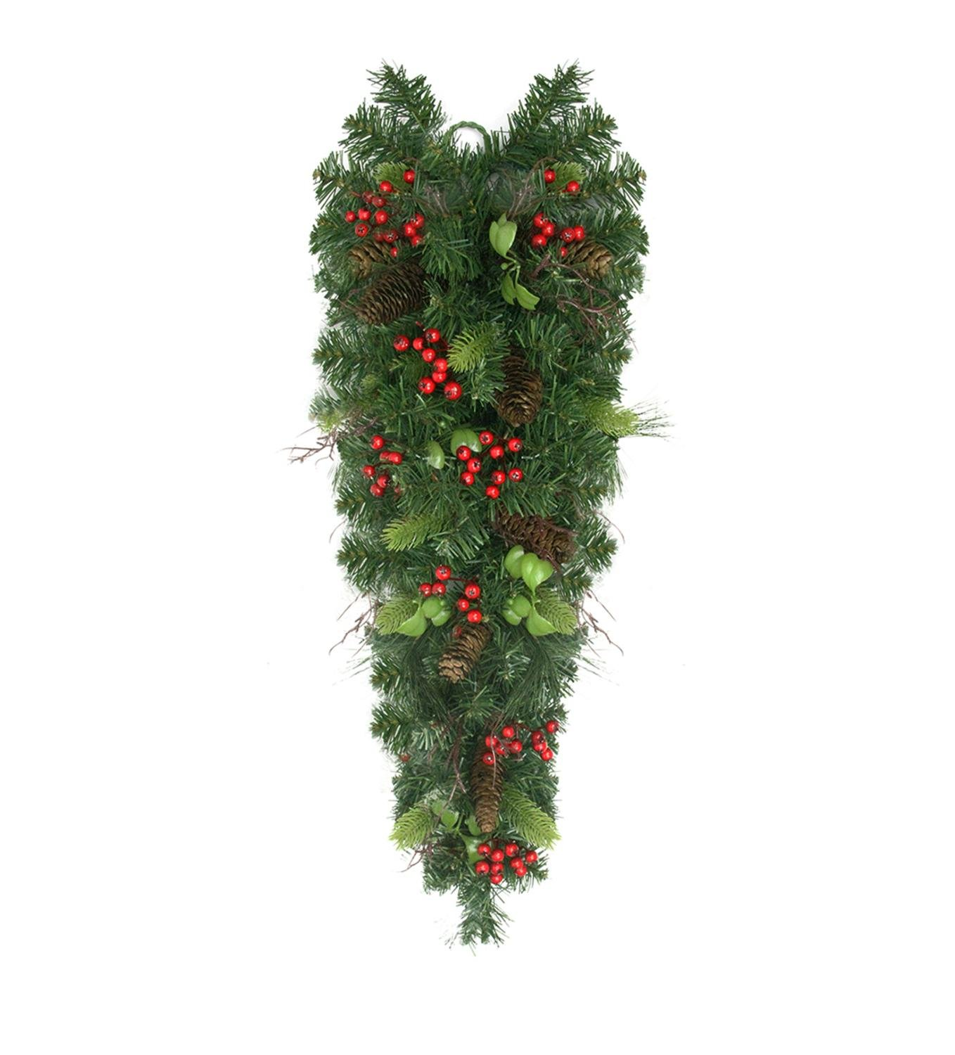 Northlight 30'' Mixed Pine with Red Berries and Pine Cones Artificial Christmas Teardrop Swag - Unlit