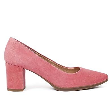 Zapato Salon Coral Tacon Grueso 6cm Mujer. Colección Verano 2018. Talla 35  hasta Talla 359644a6d0ce