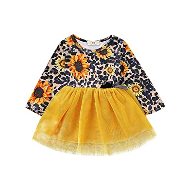 Casual Toddler Baby Girls Party Princess Dress Sunflower Tutu Dresses Clothes