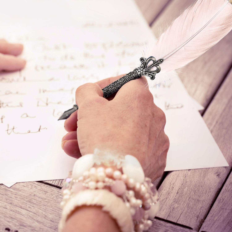 Stifthalter Tintenfass H HOMEWINS Schreibfeder Handgemacht Dip Quill Pen Federhalter Vintage Kalligraphie Federstift Set mit 5 Edelstahlspitzen in verschiedenen Gr/ö/ßen Weinrot