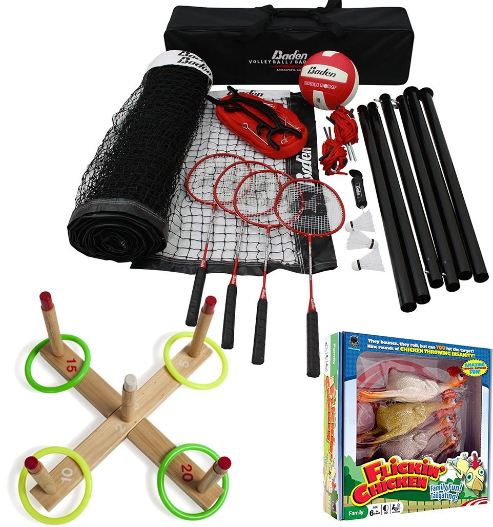 Bundle Includes 3 Items - Baden Champions Volleyball Badminton Set, Flickin' Chicken and Champion Sports Wooden Ring Toss Game