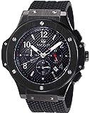 Megir Mens Black Dial Chronograph Big Face Sport Quartz Watch with Silicone Strap