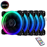 EASYDIY 5-Pack 120mm Computer Case PC Cooling Fan, RGB LED Quiet High Airflow Adjustable Color LED Fan, CPU Cooler and Radiator Support Intel AMD DIY MOD AM4 Rrzen, with RF Remote