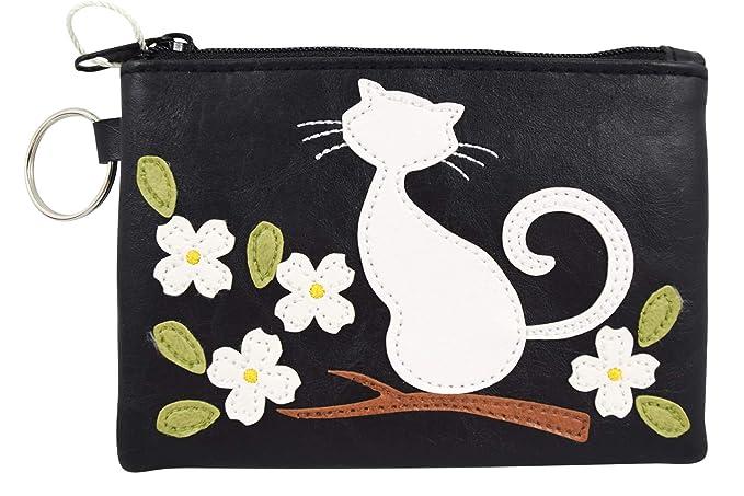 Amazon.com: Llavero con diseño de gato y flor de color negro ...