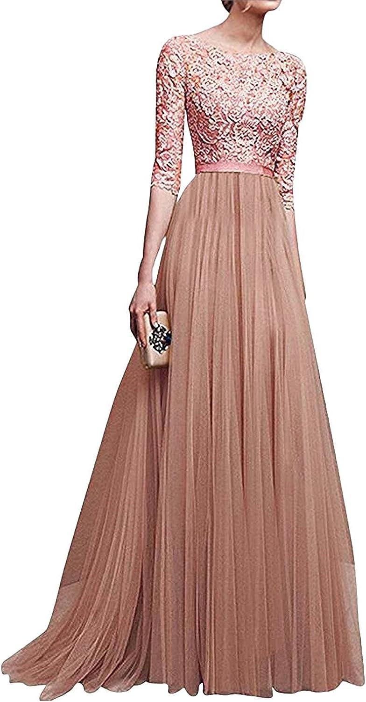 Minetom Elegant Spring and Summer Evening Dress Chiffon Dress Sleeves Round Neck Fairy Skirt Multi-Color Optional