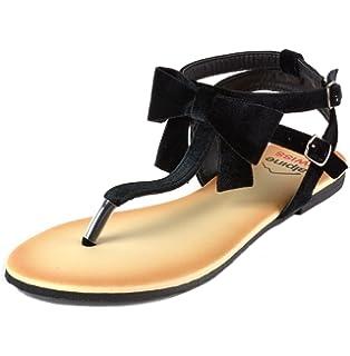 9a66deda24d alpine swiss Womens Velvet Bow Sandals T-Strap Thong Gladiator Slingback  Flats