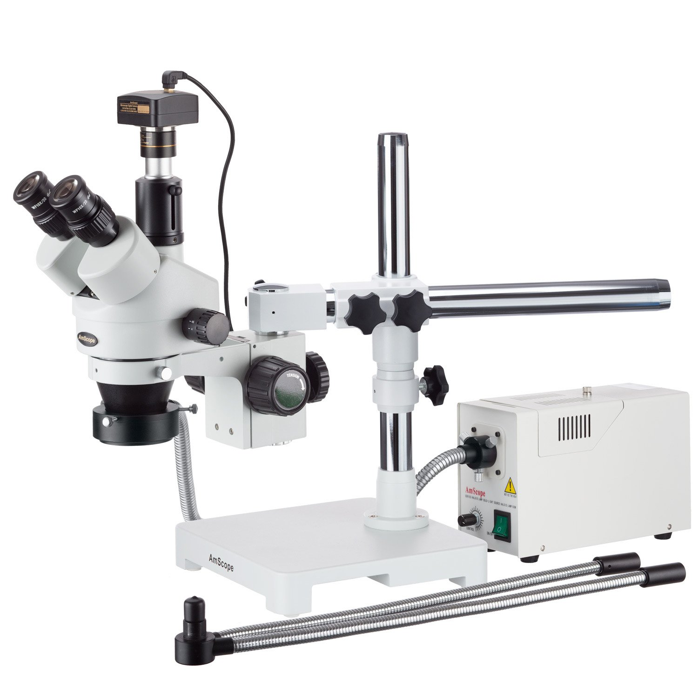 AmScope 3.5X-90Xブームは、光ファイバーデュアルグースネックとリングライト+ 10MPデジタルカメラをズーム実体顕微鏡スタンド   B004WY2FSU