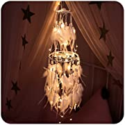 Anmada Double Layer Dreamcatcher with 32.8FT Battery Operated Twinkle Fairy String Light for Bedroom Wedding Party Home Garden Indoor Wall Decorations