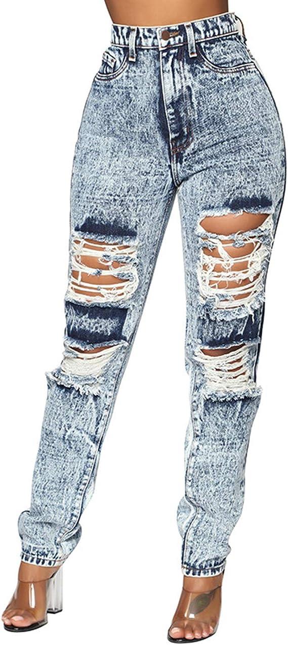 Mujeres Destruido Jeans Rasgados Skinny De Talle Alto Verano