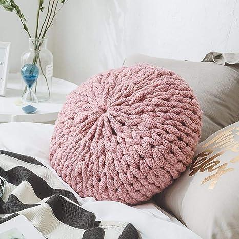 Keptfeet - Almohada Decorativa Redonda Tejida para sofá ...