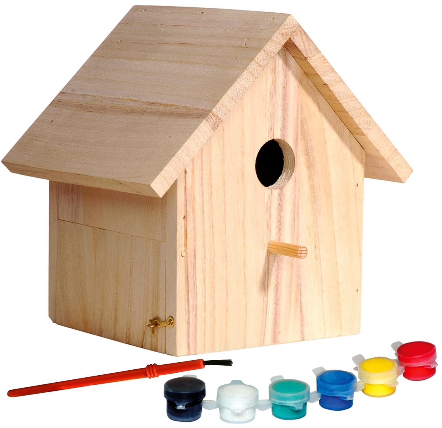 Dobar 22368FSC Decorative FSC-Certified Spruce Wood Bird House - Craft Set for Children to Build and Paint Themselves with Paintbrush, Sponge and Stencil