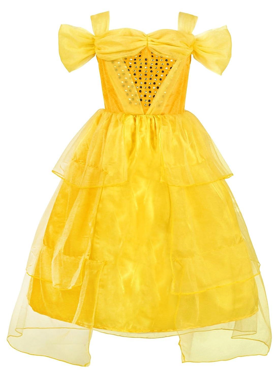 AmzBarley Disfraz de Princesa Belle Disfraz de Cosplay para Ni?a Disfraz de Halloween Disfraz