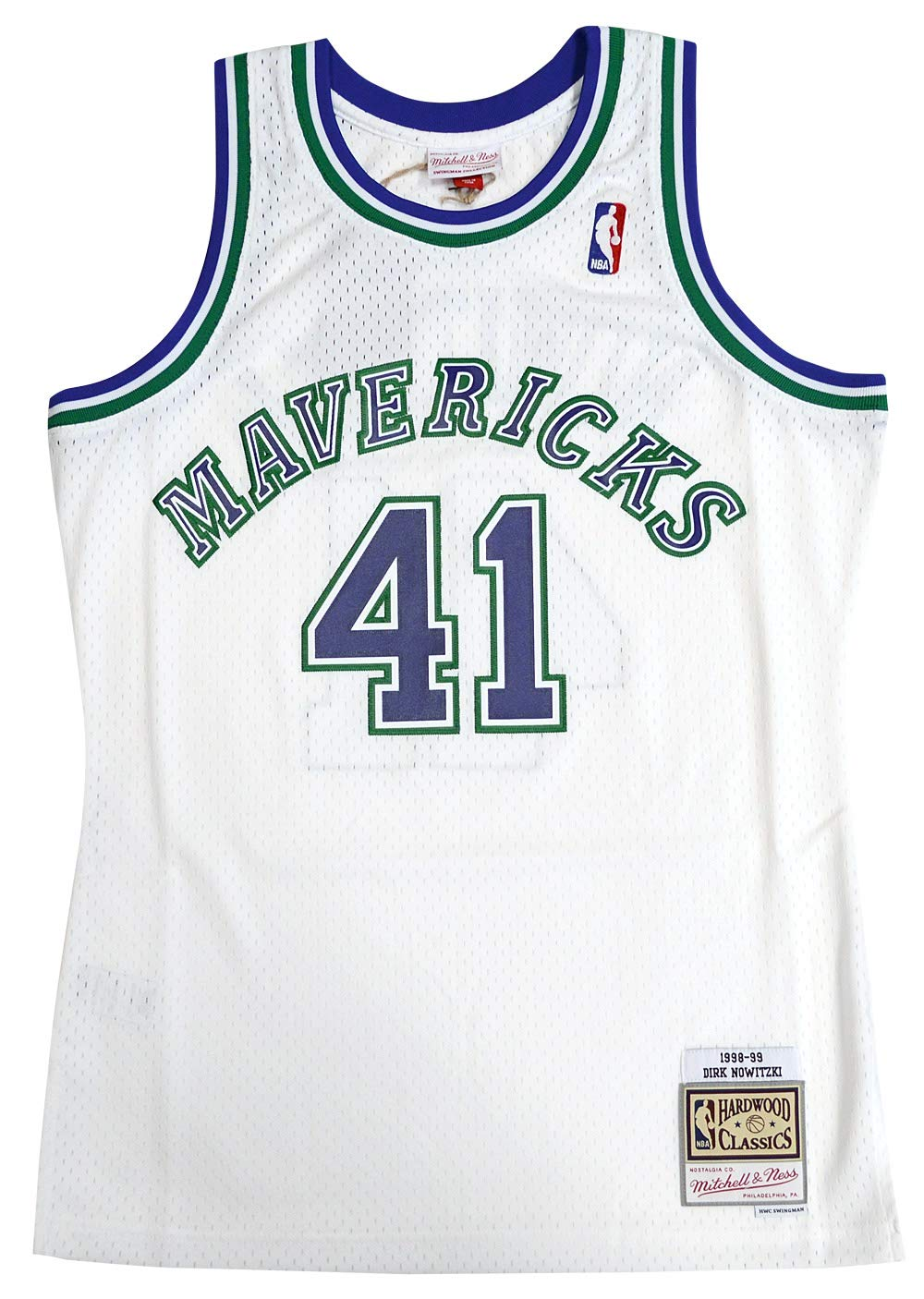 34374828a Mitchell   Ness Dallas Mavericks Dirk Nowitzki Swingman Jersey NBA  Throwback White (Medium)