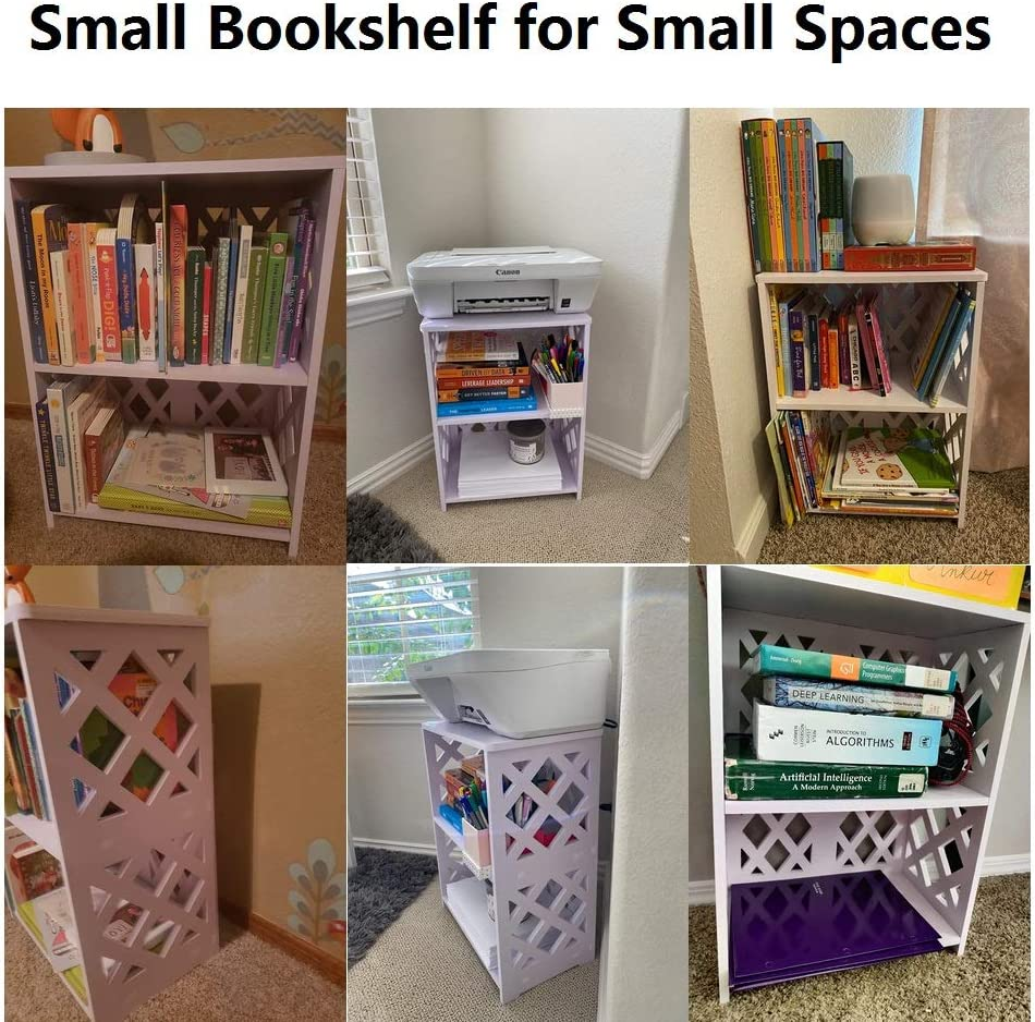 Kids Bookshelf 2 Tier Office RIIPOO Small Bookcase Nursery Small Spaces Sofa Nightstands White for Living Room Bedside End Table Bedroom