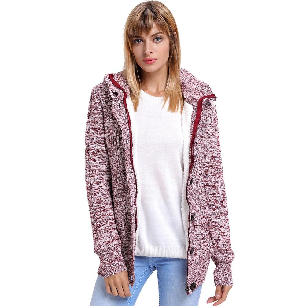 Wgwioo Sweater Mujer Encapuchado Abrigos Casual Tejer suéter Ropa de ...