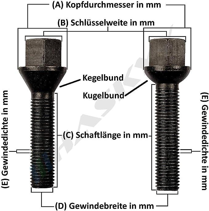 10 Sternschrauben Zink M14x1 5x55 Kegel Kegelbund Radschrauben Radbolzen D20 Auto