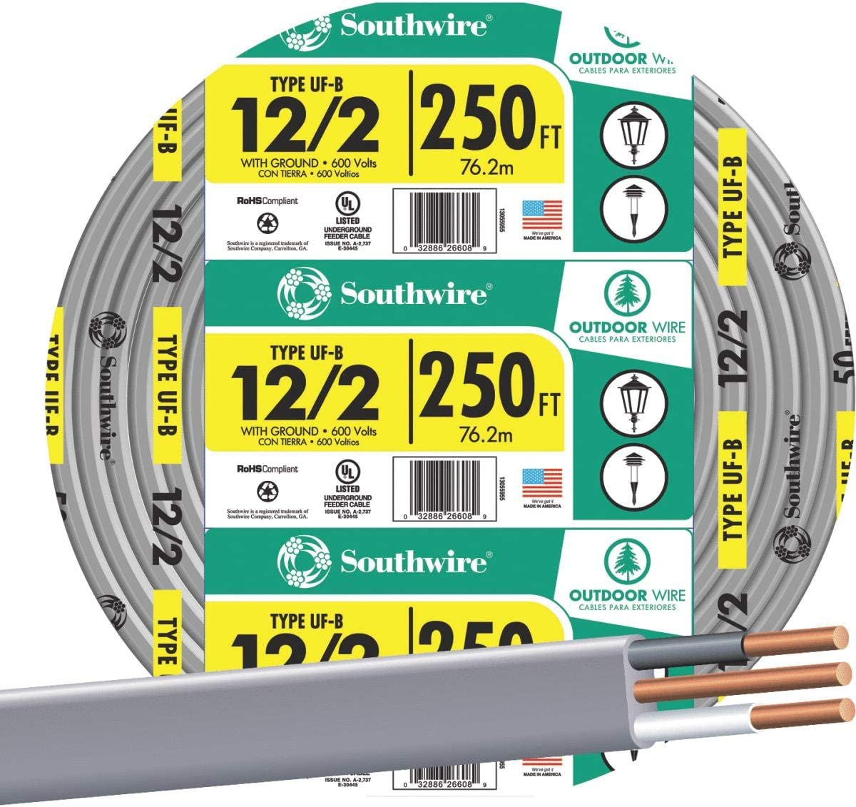 Southwire 13055955 250' 12-2 UFW/G WIRE, Gray