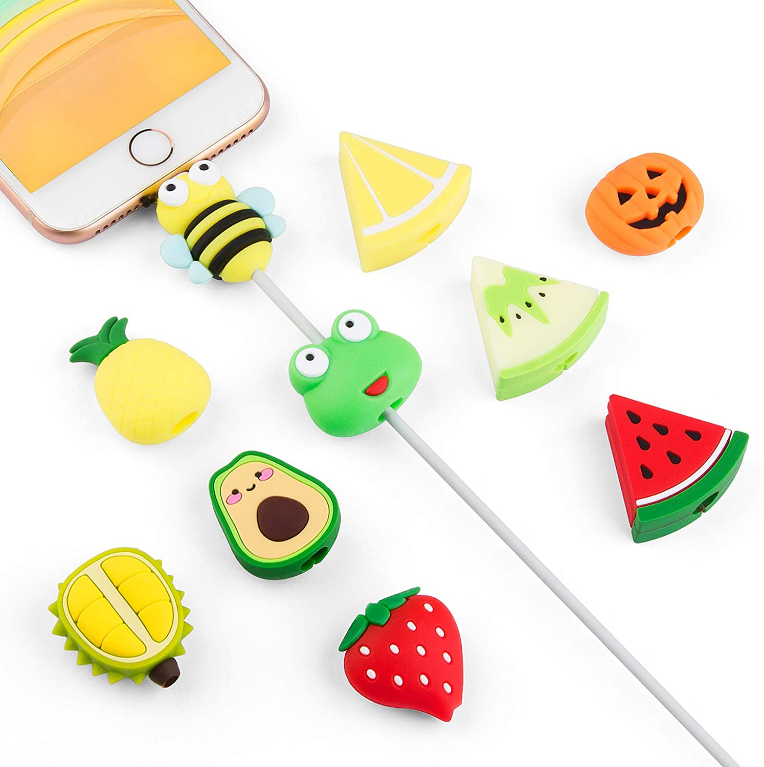 Cute Fruit Cable Protector for iPhone iPad Charger, SUNGUY 10pcs Animal Charger Protector, Cord Protector USB Cable, Cable Saver Phone Accessory