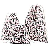 Amoyie – 3 pezzi organizer borsa cotone con coulisse per bimba abiti pannolini giocattoli matite colorate caramella regalo – Piccola sacche in 3 taglie (25x30cm) + (19x23) + (15x16)