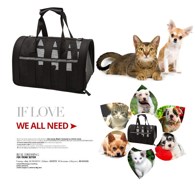 NICREW Bolsa de Transporte Perros Gatos, Bolso de Viaje del Mascotas, Transportin para Perros Bolso Gato de Coche, Bolsa Plegable para Viaje de Tren - S: ...
