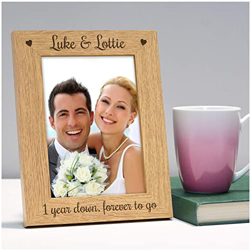 """6x4/"""" Personalised Wooden Wood 5th 5 Wedding Anniversary Photo Picture Frame"""