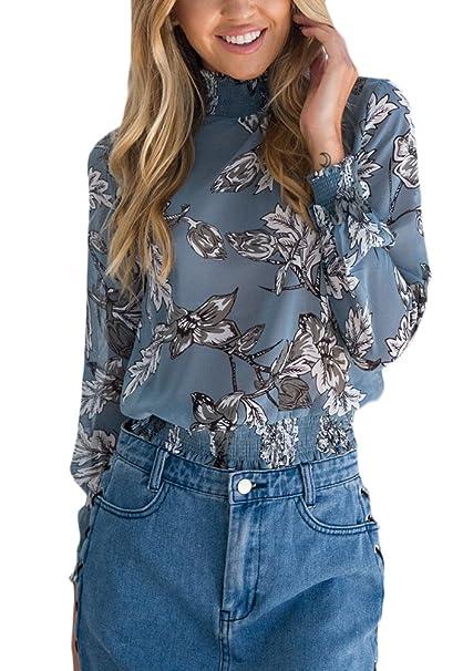 Camisas Mujer Manga Larga Cuello Alto Suelto Vintage Flores Estampadas Elegantes Hippie Jovenes Ropa Fiesta Modernas