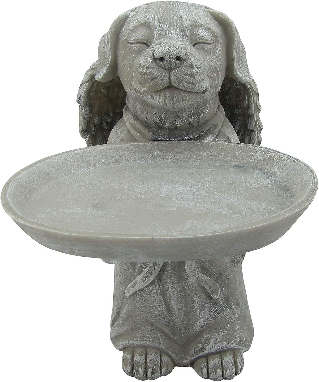 """Comfy Hour Resin 10"""" Memorial Dog Angel Birdfeeder Outdoor Garden Pet Statue"""