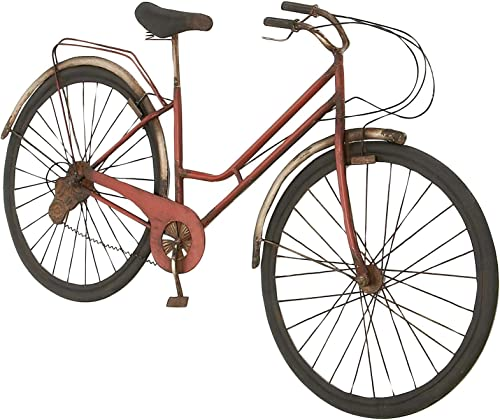 Deco 79 Modern 22 x 38 Inch Red Iron Bicycle Model Metal Wall Decor