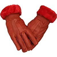 Good Life Stuff Stylish Genuine Leather Winter Protective Gloves for women in red (GLSGL-8032)