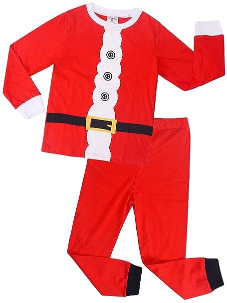 Backbuy Navidad Pijama para Niños Niñas Manga Larga Navidad Papá Noel Ropa Rojo Camisones A7471 (