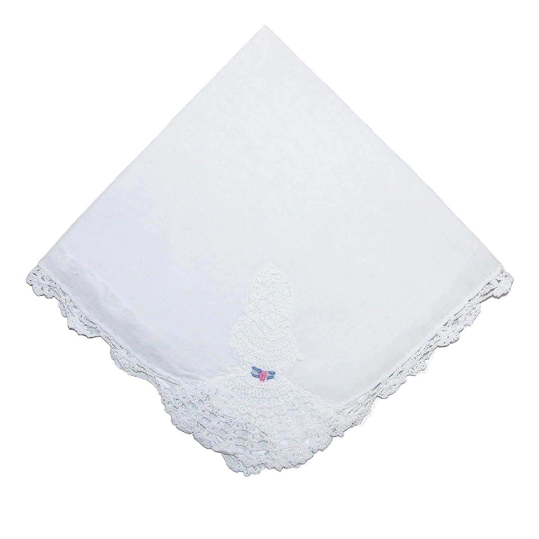 CTM® Women's Cotton Crinoline Lady Lace Handkerchief, White WO-0360962-WHT