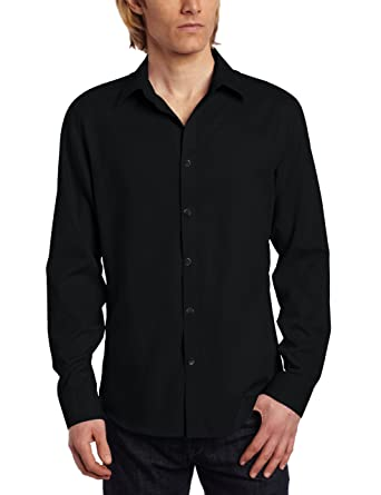 Calvin Klein Men's Slim Fit Long Sleeve Chambray Shirt, Black ...