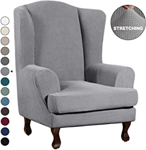 Turquoize Stretch Wing Chair Slipcover Wingback Armchair Chair Sofa Cover Furniture Protector 2-Piece with Elastic Bottom Anti-Slip Foam Kids Jacquard Fabric Small Checks (Wing Chair, Dove)