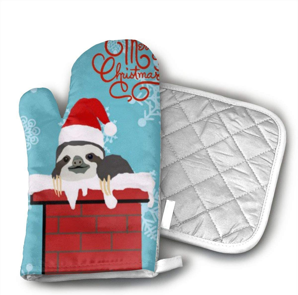 Merry Christmas Sloth Oven Mitts,Heat Resistant Oven Gloves and Pot Holders, Safe BBQ Cooking Baking Grilling