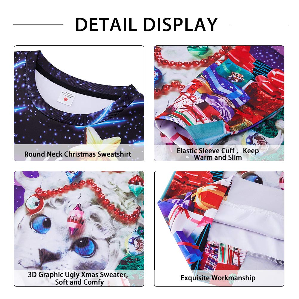 Boys Girls Women Mens Xmas Sweatshirt 3D Amusing Ugliest Cats Printed Sweater Long Sleeve Galaxy Stars Christmas Tree Decoration Pullover Tops for Ugly Sweater Party Office Contest Home Medium