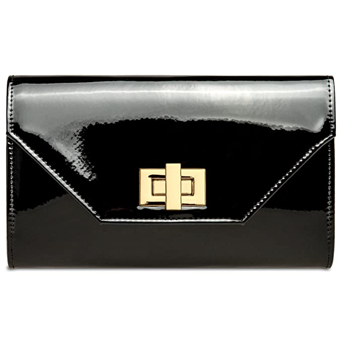 CASPAR TA421 XL Bolso de Mano Fiesta para Mujer/Clutch de Charol Metalizado con Cierre Giratorio, Color:negro;Tamaño:Talla Única: Amazon.es: Ropa y ...