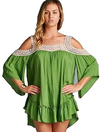 766b3834da4 Jodifl Women s Bohemian Open Shoulder Crochet Lace Top Blouse Shirt (Small