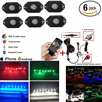 Night Break Light 16 Pods RGB Led Rock Lights with Bluetooth App Control Timing Function Music Mode Multicolor Underglow LED Neon Light kit for Auto Car Off Road Truck Pickup ATV SUV JEEP