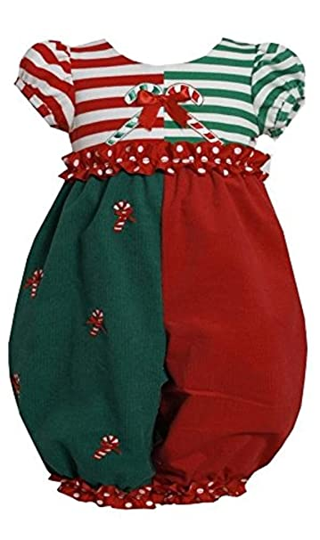 13ad6407e305 Amazon.com  Bonnie Jean Baby-Girls 3M-24M Red Green ColorBlock Candy Cane  Romper  Clothing