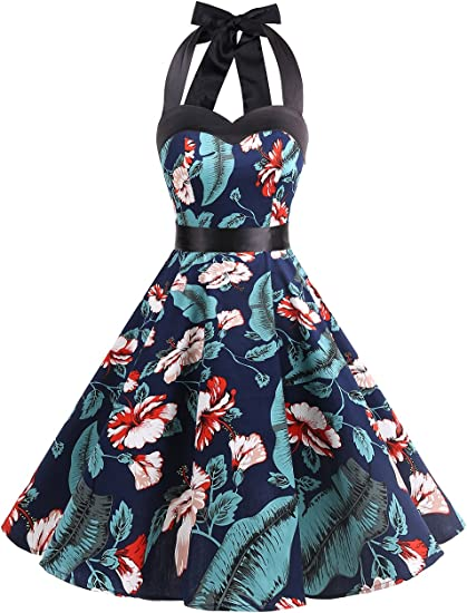 TALLA 3XL. Dresstells® Halter 50s Rockabilly Polka Dots Audrey Dress Retro Cocktail Dress Navy Flower 3XL