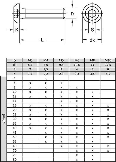 M3x35 x20 Vis /à m/étaux T/ête Bomb/ée Six Pans Creux Acier Inox ISO 7380-1