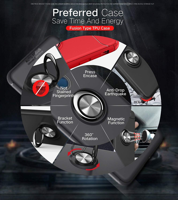 Silicona Suave Hardware Avanzado Anillo 1+7 Pro OnePlus7 Pro, Negro Dise/ño Delgado Soporte de Caballete 360 /° Funda para OnePlus 7 Pro