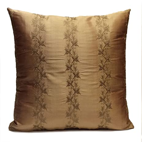 Amazon Brown Gold Tan Bronze Silk Decorative Throw Pillow Unique Bronze Decorative Pillows