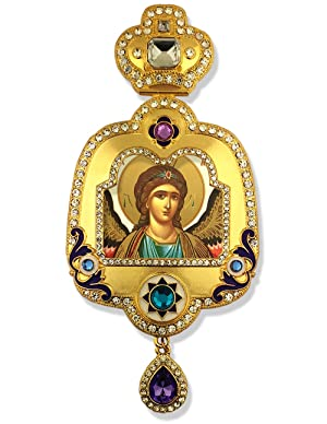 St Saint Michael Icon Jeweled Framed Icon Pendant Religious With Crown Chain Decoration Wall 6 Inch