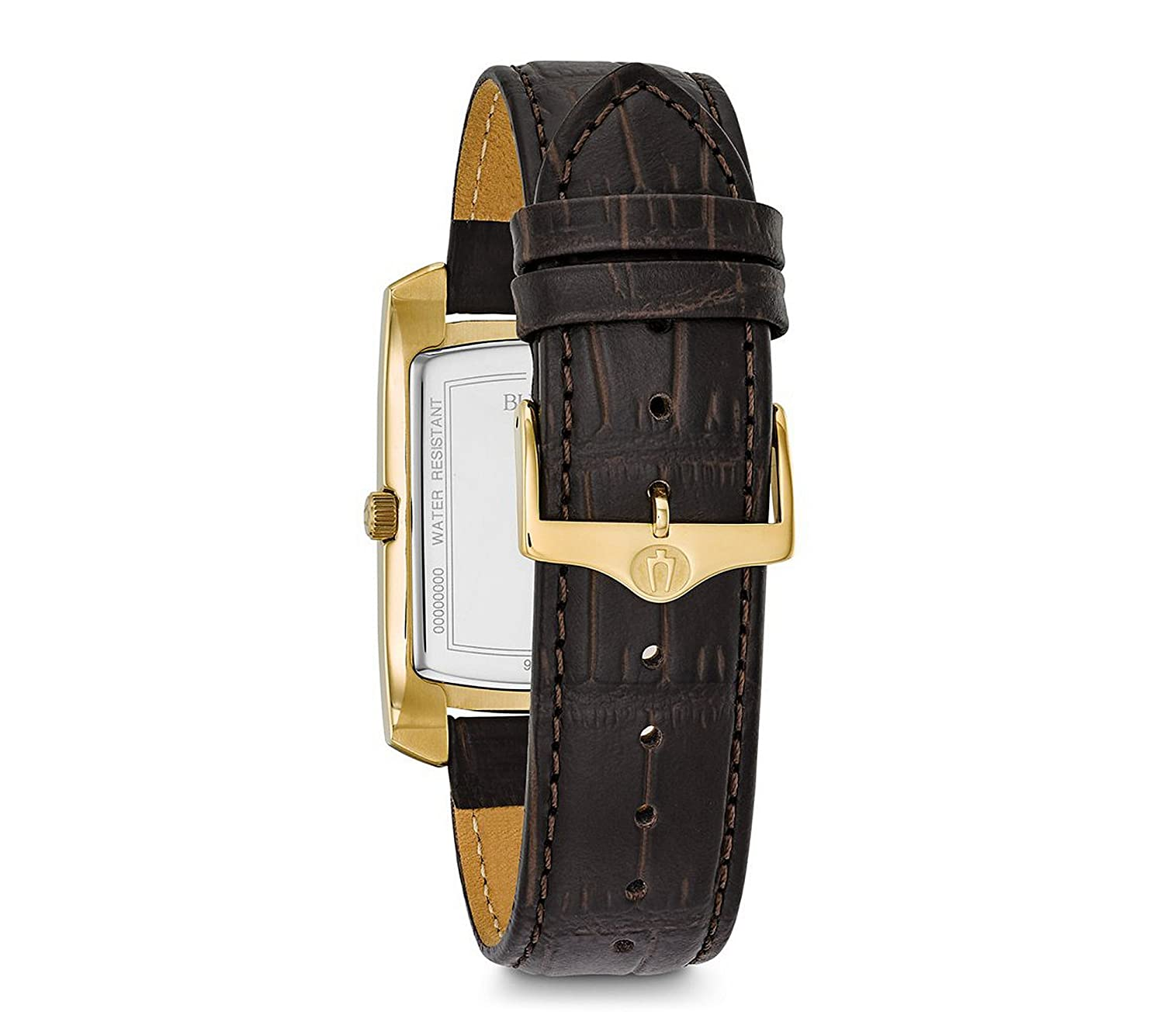 Bulova Mens Classic Crocodile Grain Leather Strap Rectangular Watch | Amazon.com