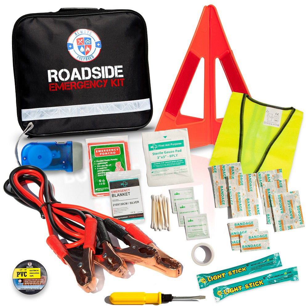 8-Gauge Jumper Cables, Self-Powered LED Flashlight, Emergency Triangles, First Aid Kit
