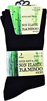 Multipack BAMBOO Socks Mens Pack of 3 6 9 12 Pairs Elastic Gentle Soft Grip 9-11