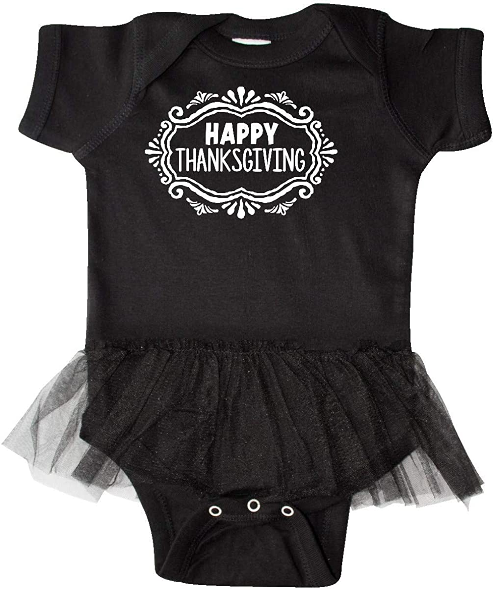 inktastic Happy Thanksgiving with Decorative Border Infant Tutu Bodysuit