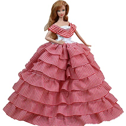 012f90b0bd0 Buy Lovely Beautiful British Style Handmade Party Dress Wedding Dress for  11.5 inch Doll Red Plaid Online at Low Prices in India - Amazon.in