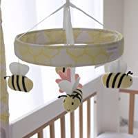 Bubba Blue Bee Beautiful Musical Mobile, Yellow/Pastel Lavender/Pink/Aqua Blue